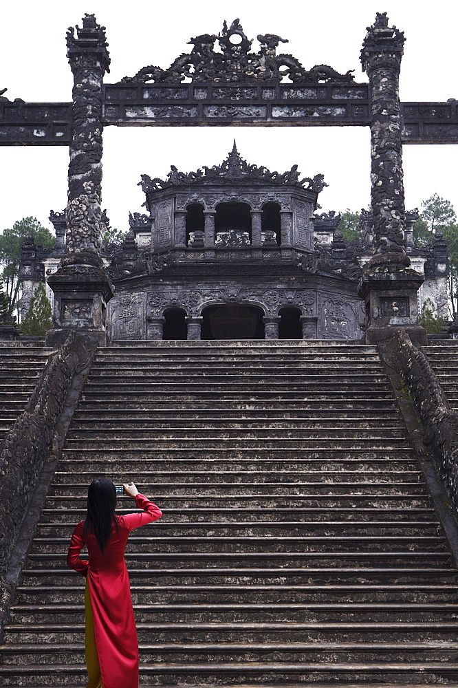 Vietnamese schoolgirl taking picture of Khai Dinh's Tomb, Hue, Vietnam, Indochina, Southeast Asia, Asia - 812-166