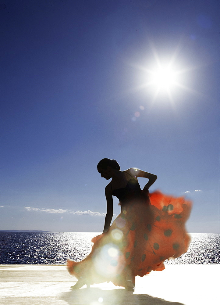 Flamenco dancing by sea in full sunlight, Ibiza, Spain, Europe - 812-19
