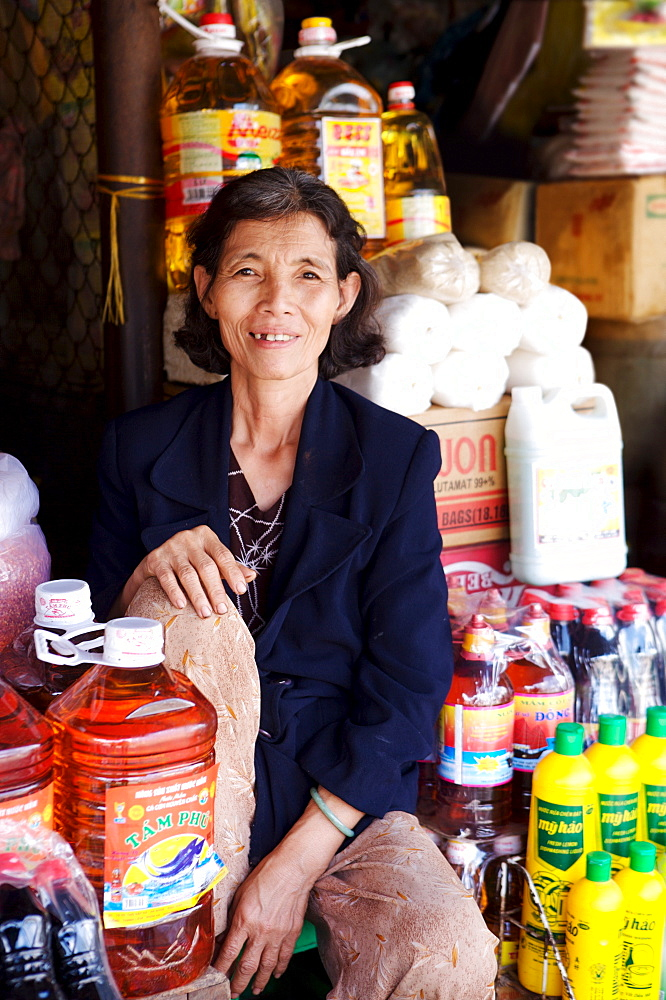 Trader At the Dong Ba Market, Hue, Vietnam, Indochina, Southeast Asia, Asia - 812-200