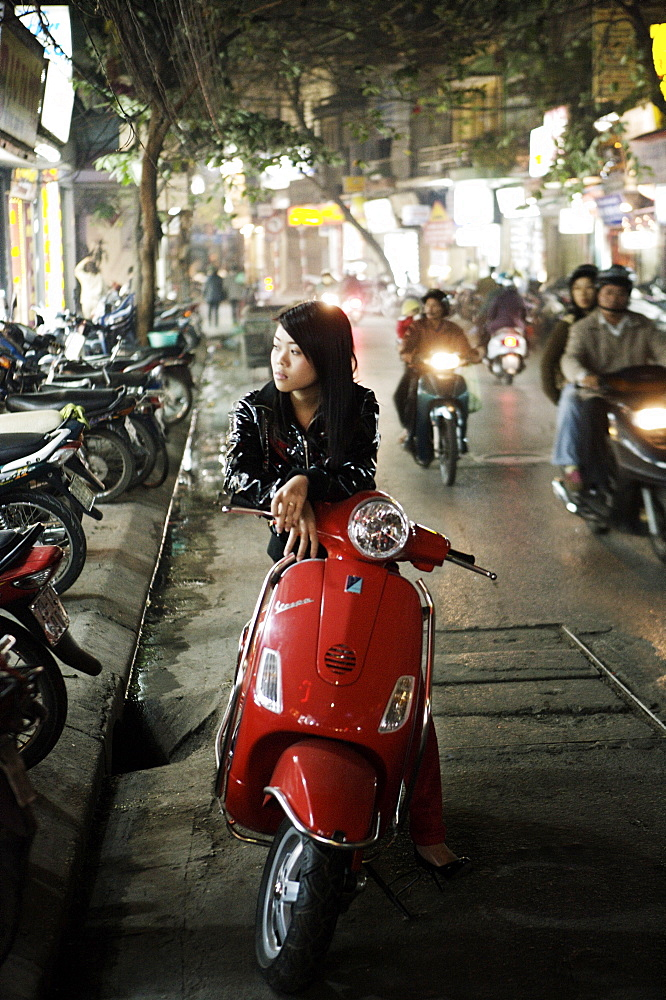 Girl sitting on red Vespa, Hanoi, Vietnam, Indochina, Southeast Asia, Asia - 812-90