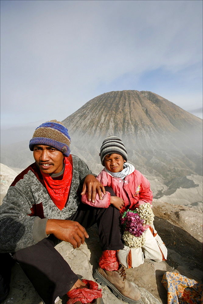 At the top of the Bromo volcano, with the small Batok volcano in the background, Tengger Caldera, Java, Indonesia, Southeast Asia, Asia