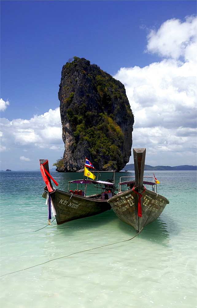 Long tailed taxis on the Hat Tham Phra Nang beach, in the Gulf of Krabi, Thailand, Southeast Asia, Asia
