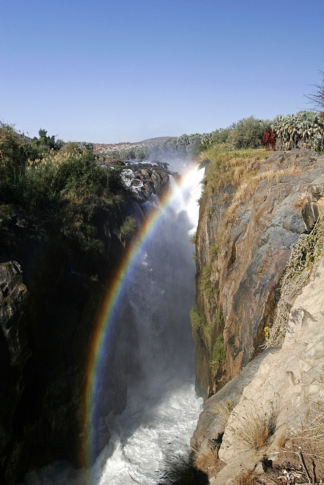 Rainbow at Epupa falls, on the Kunene River, in Himba country, on the border with Angola, Namibia, Africa
