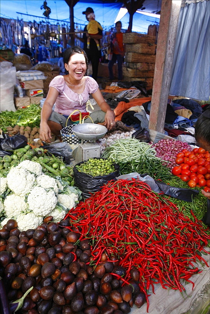 Red chillies at the market of Parapat, close to Lake Toba, Sumatra, Indonesia, Southeast Asia, Asia