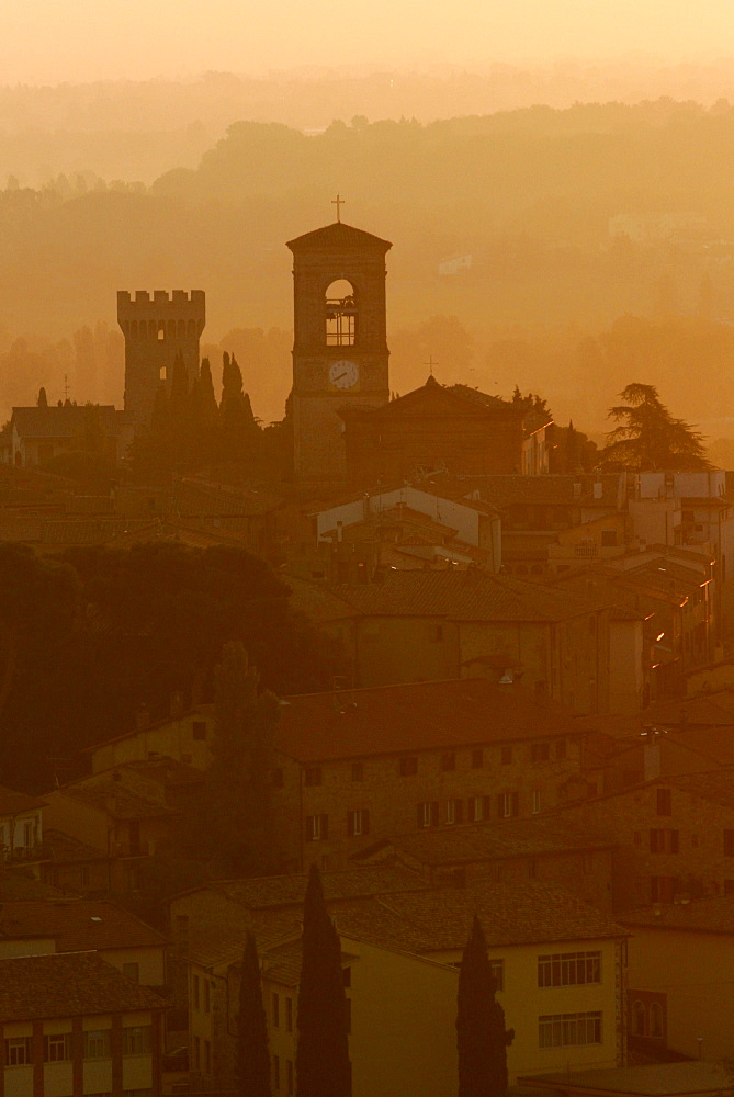 The village of Torgiano in the dawn light, in the Umbrian landscape around Perugia, Umbria, Italy, Europe