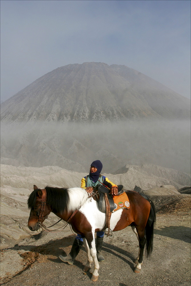 Horse and rider on the way to the top of the Bromo volcano, in the background the small Batok volcano, Tengger caldera, Java, Indonesia, Southeast Asia, Asia