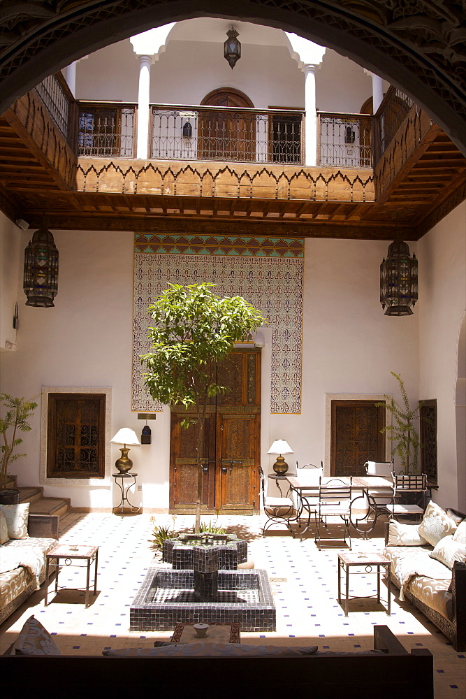 The entrance of the Riad Blanc in the medina of Marrakech, Morocco, North Africa, Africa