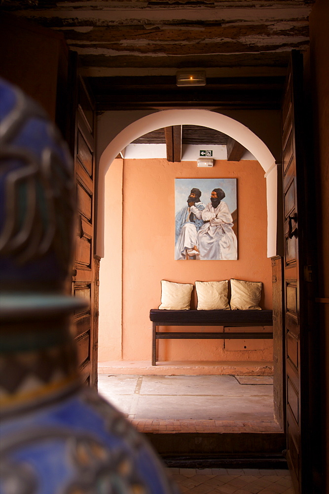The entrance of the Riad Si Said in the medina of Marrakech, Morocco, North Africa, AFrica