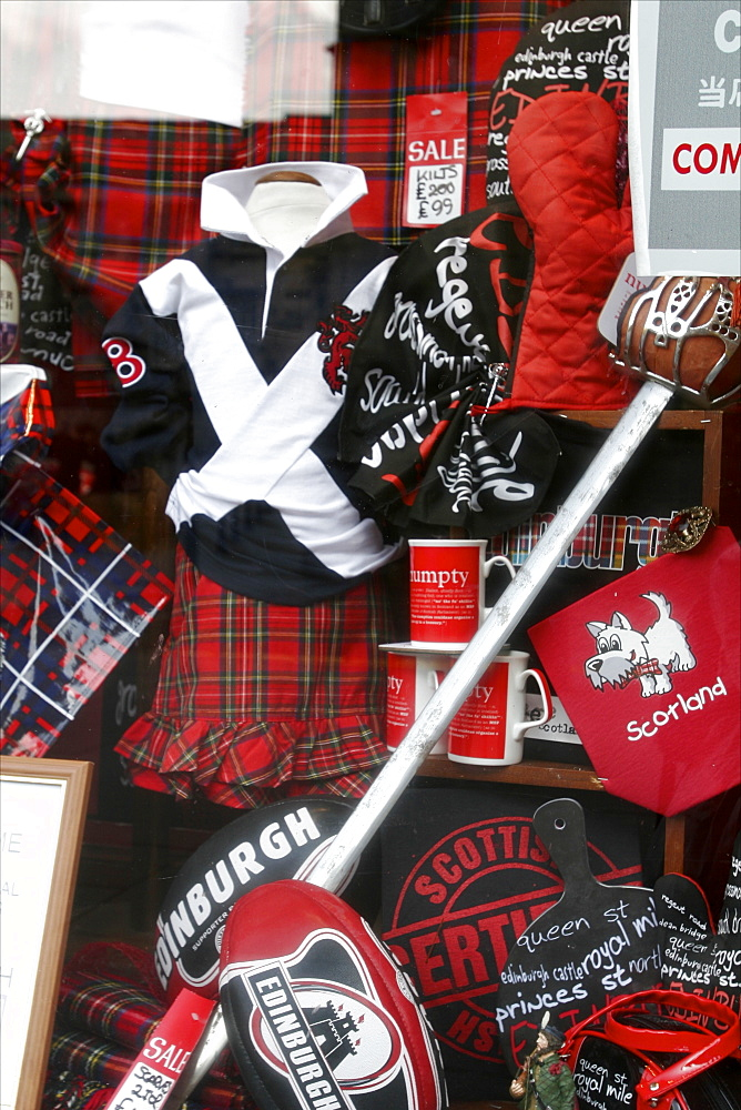 Scottish and rugby souvenirs for sale in a shop in the centre of Old Edinburgh, Edinburgh, Scotland, United Kingdom, Europe