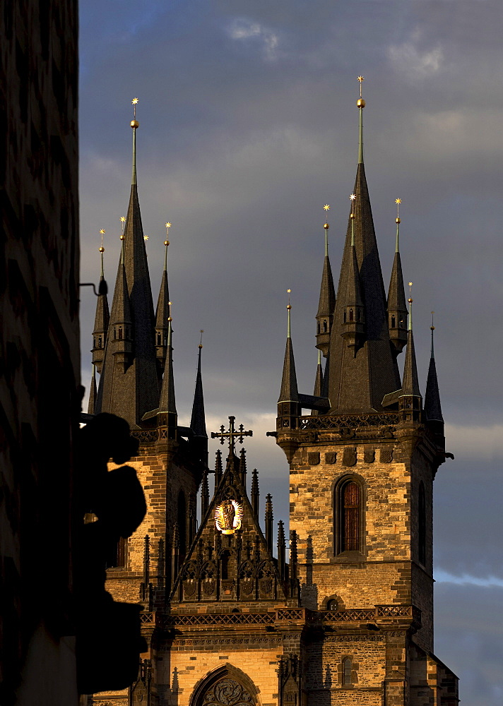 Spires of Church of Our Lady before Tyn, Old Town, Prague, Czech Republic, Europe