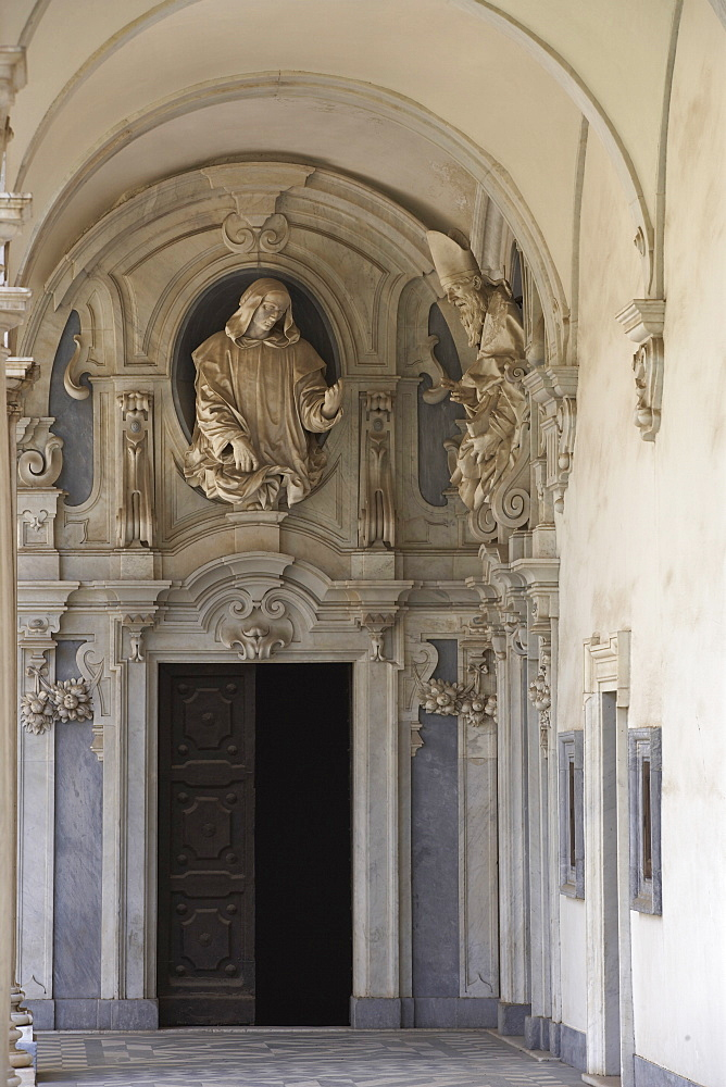 Certosa di San Martino doorway with baroque figure, Naples, Campania, Italy, Europe - 815-2138