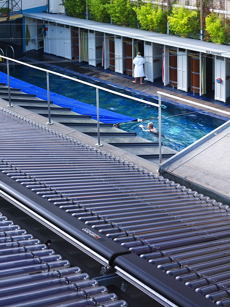 Solar panels at Clifton Lido, architects Marshall and Kendon, Bristol, England, United Kingdom, Europe - 815-2273