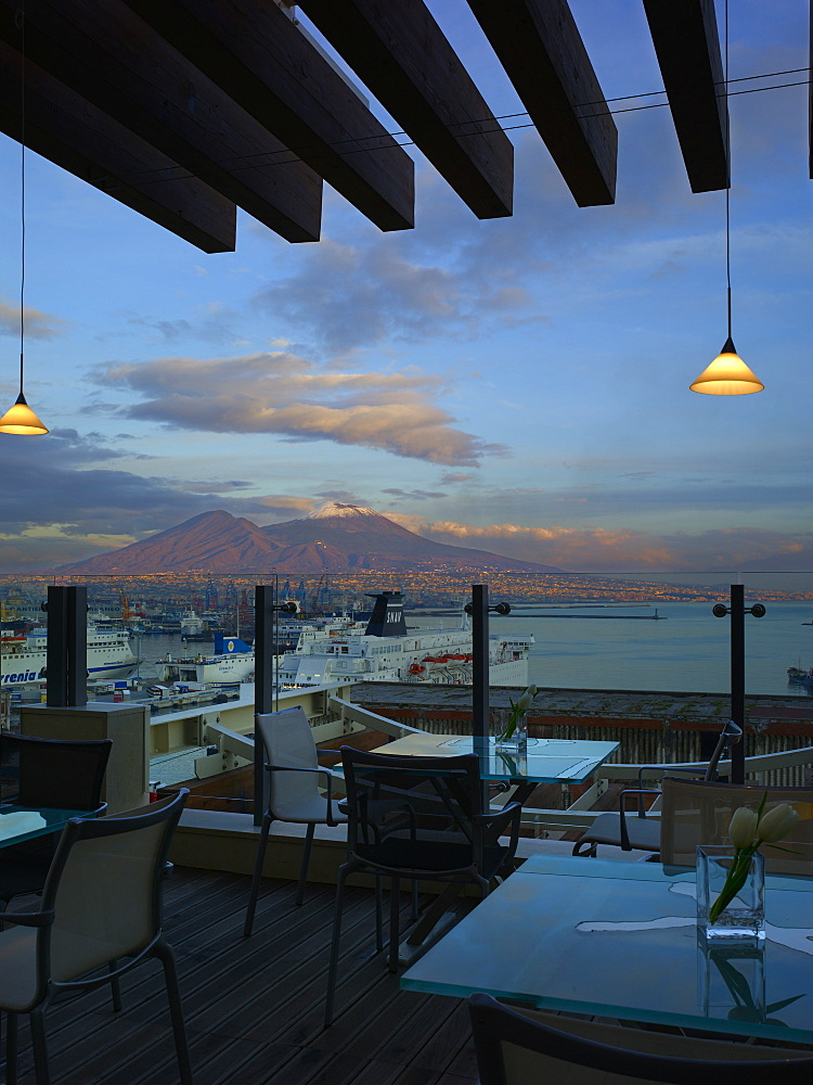 Hotel Romeo restaurant terrace and Mount Vesuvius, Naples, Campania, Italy, Europe - 815-2295