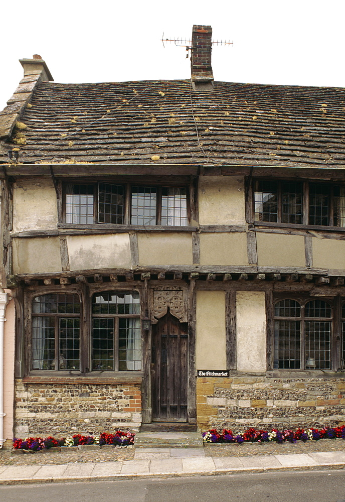 Timber-framed house of box frame type with jetty, Abbey Street, Cerne Abbas, Dorset, England, United Kingdom, Europe