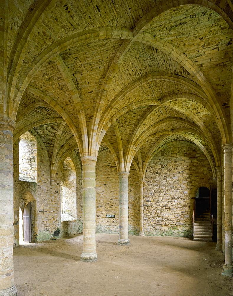 Novices Room, south end of Dorter, Battle Abbey, Battle, East Sussex, England, United Kingdom, Europe