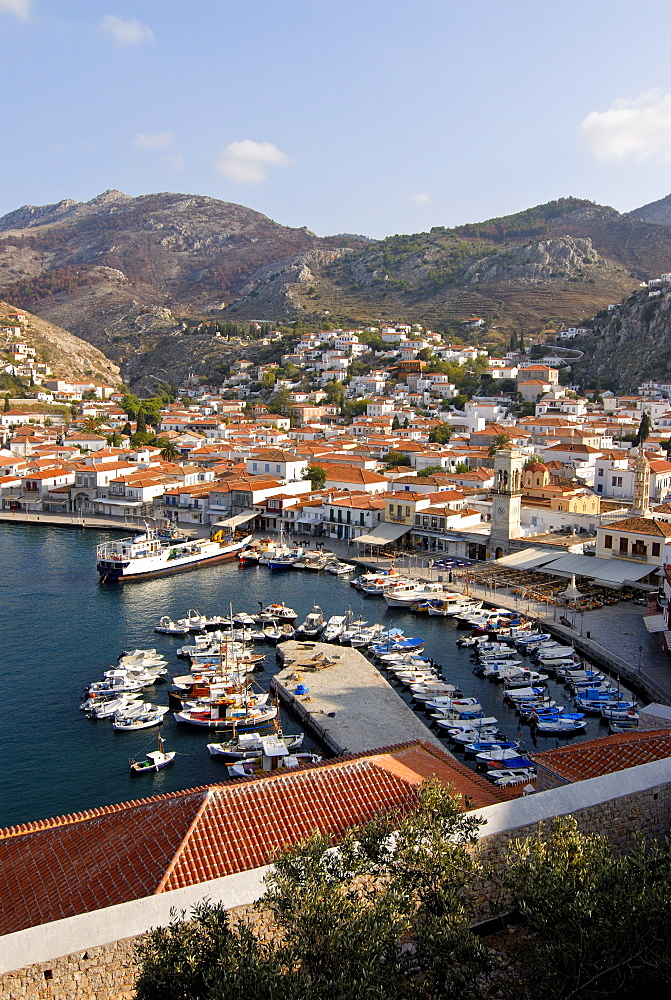 View over the harbour of Hydra on the island of Hydra, Greek Islands, Greece, Europe