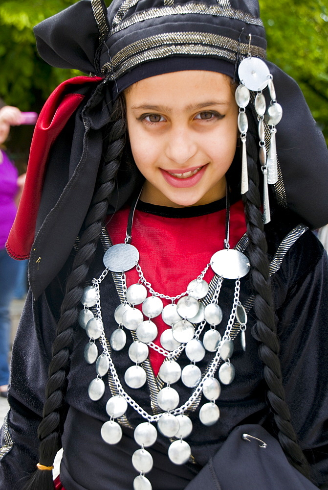 Young traditionally dressed Georgian girl, Sighnaghi, Georgia, Caucasus, Central Asia, Asia