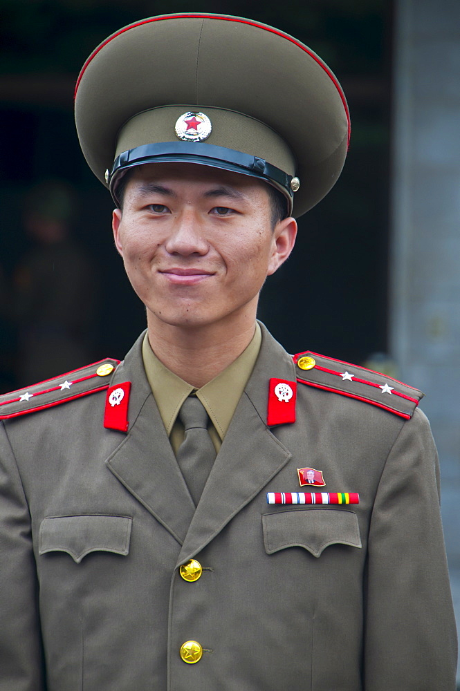 Friendly north Korean soldier, Pammunjon, North Korea, Asia - 816-2445