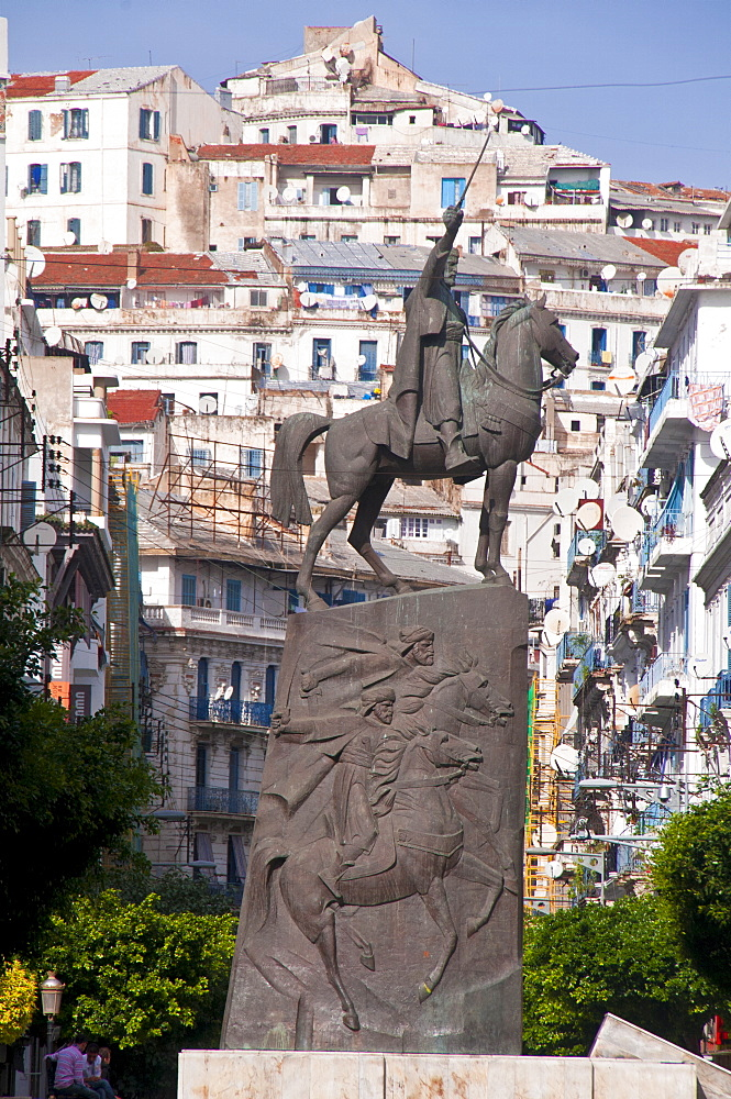 The statue of Abdel Kader at Place Abdel Kader, Algiers, Algeria, North Africa, Africa