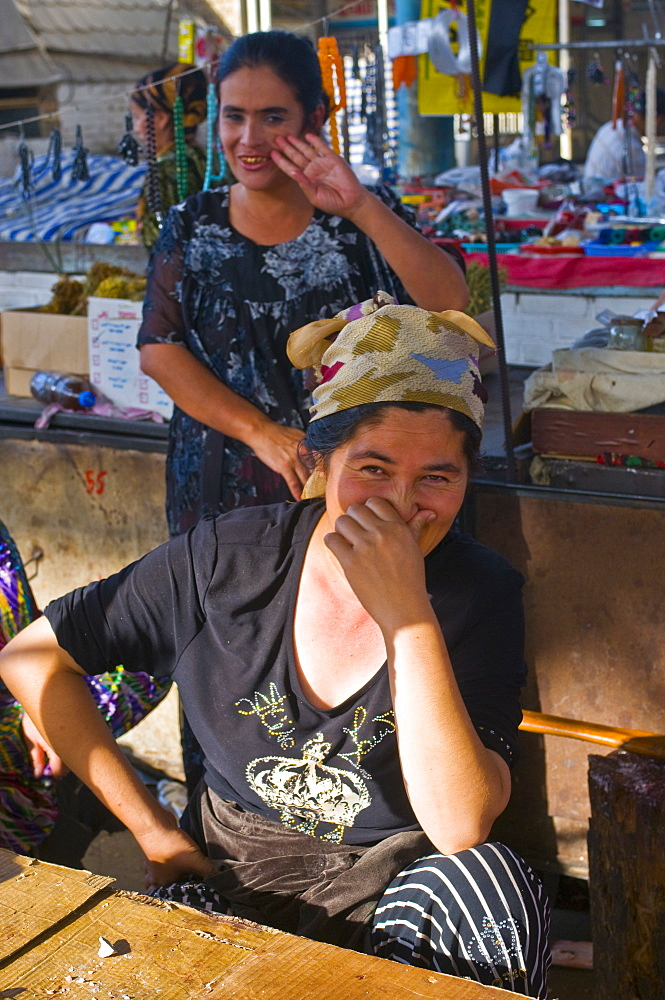 Saleswomen in the market of Osh, Kyrgyzstan, Central Asia, Asia