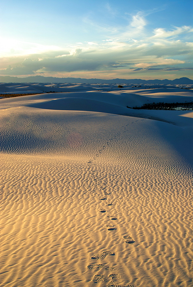 Rippled gypsum, sand dunes in the White Sands National Monument, New Mexico, United States of America, North America