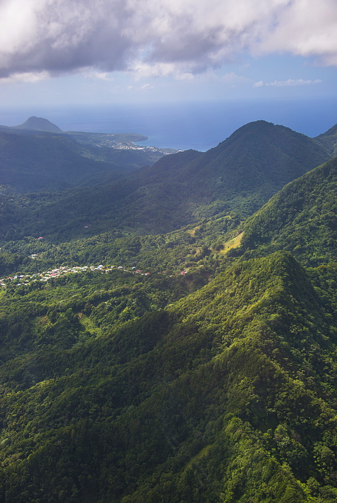 Aerial of Dominica, West Indies, Caribbean, Central America