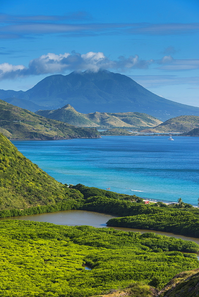 View over the South Peninsula of St. Kitts, St. Kitts and Nevis, Leeward Islands, West Indies, Caribbean, Central America