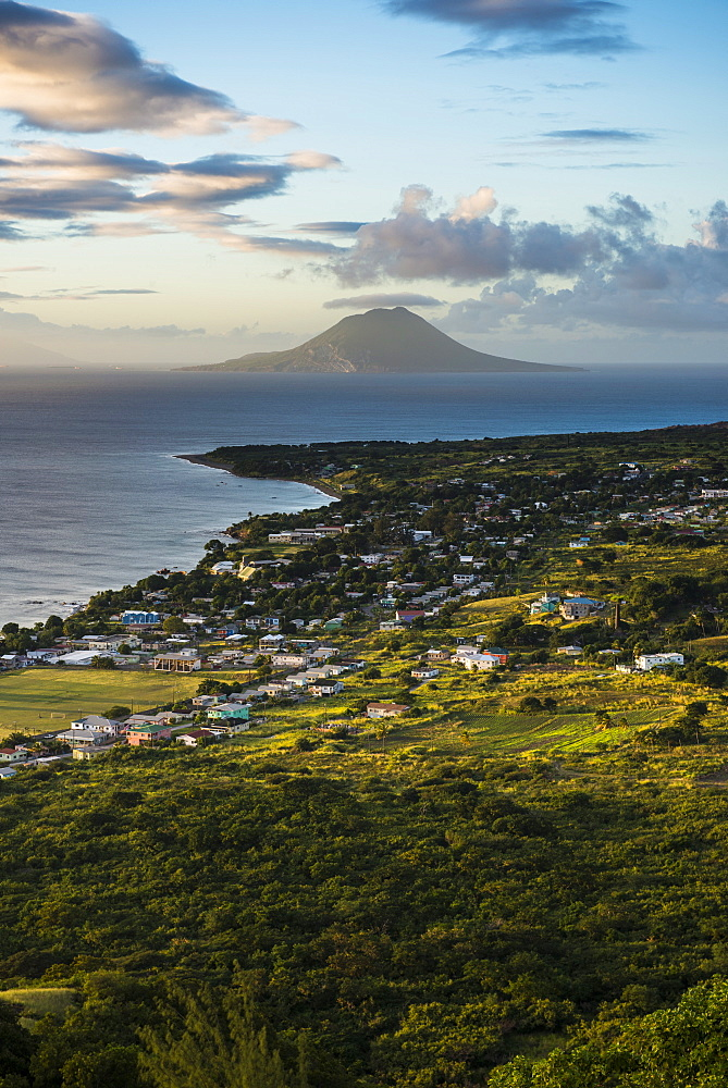 View to St. Eustatius from Brimstone Hill Fortress, St. Kitts, St. Kitts and Nevis, Leeward Islands, West Indies, Caribbean, Central America