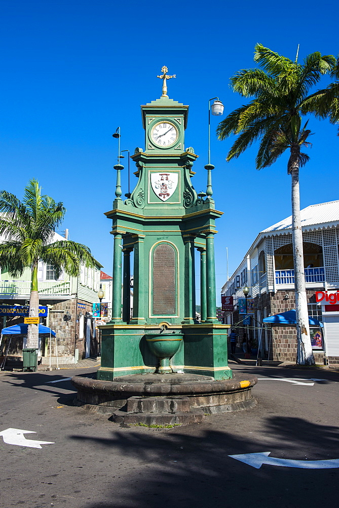 The Circus with the Victorian style Memorial clock, Basseterre, St. Kitts, St. Kitts and Nevis, Leeward Islands, West Indies, Caribbean, Central America