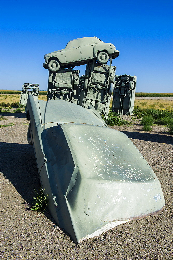 Carhenge, a replica of England's Stonehenge, made out of cars near Alliance, Nebraska, United States of America, North America