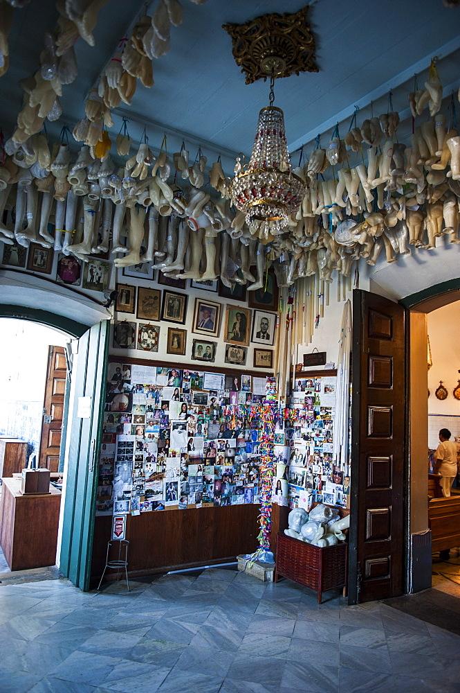 Artificial limbs in a side room of the Nosso Senhor do Bomfim church, Salvador da Bahia, Bahia, Brazil, South America