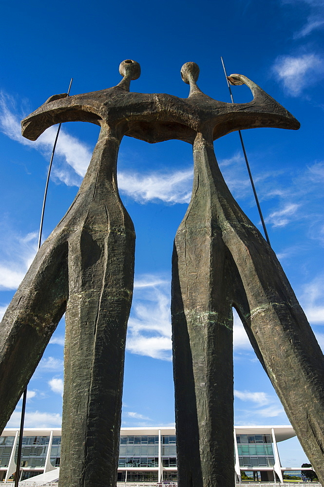 Dois Candangos (The Warriors), monument of builders of Brasilia, Brazil, South America