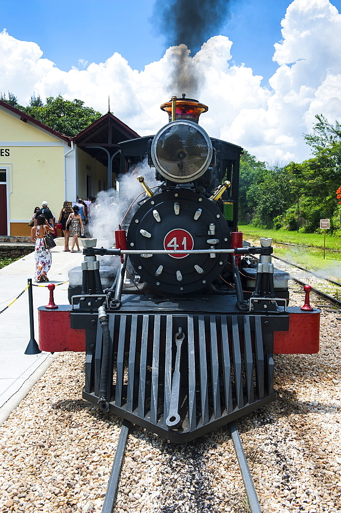 Historical steam train Maria Fumaca in Tiradentes, Minas Gerais, Brazil, South America