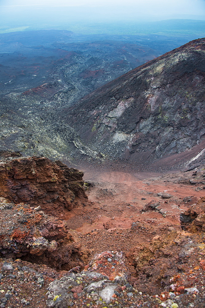 View over the lava sand field of the Tolbachik volcano, Kamchatka, Russia, Eurasia