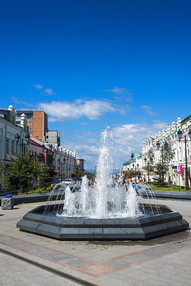 Picturesque Admiral Fokin Street, Vladivostok, Russia, Eurasia
