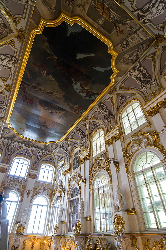 Jordan main staircase in the Hermitage (Winter Palace), UNESCO World Heritage Site, St. Petersburg, Russia, Europe