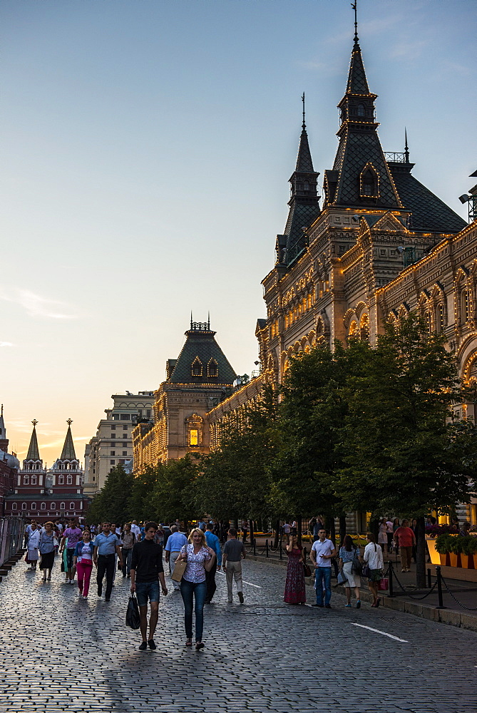 The GUM on Red Square at sunset, Moscow, Russia, Europe