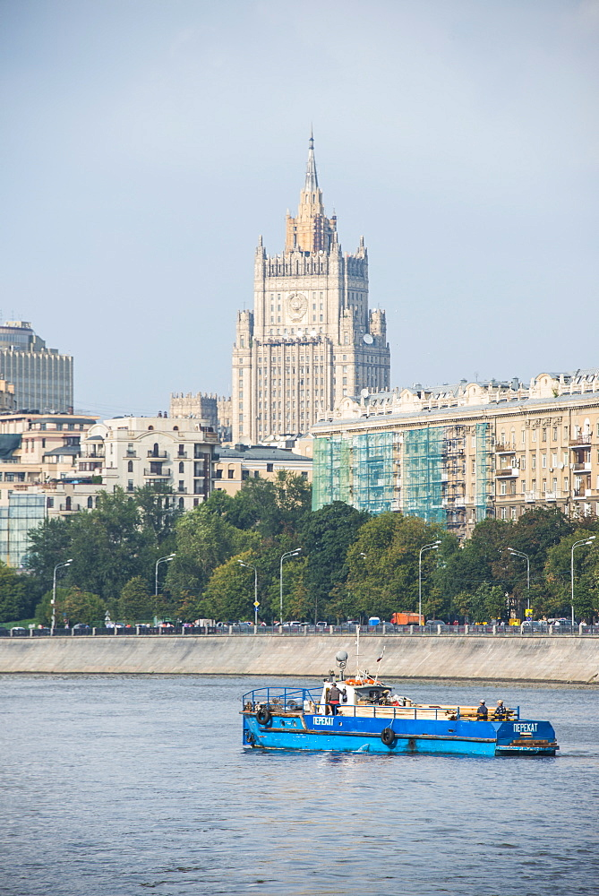 Moscow seen from a river cruise along the Moskva River (Moscow River), Moscow, Russia, Europe