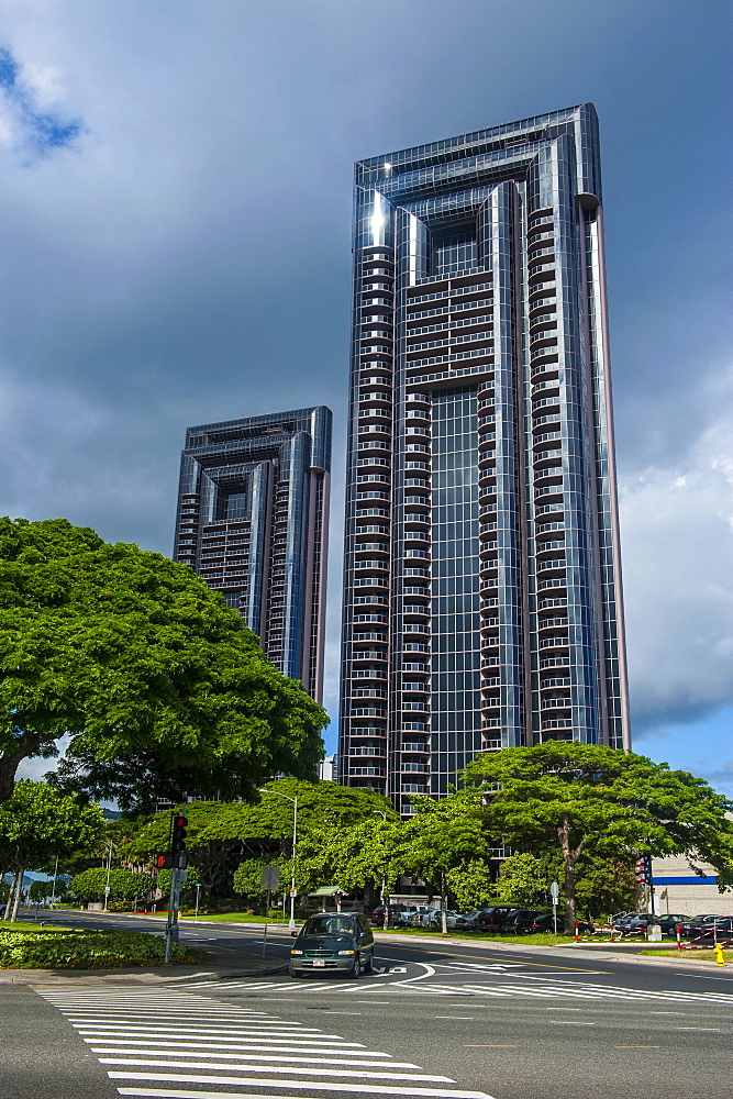 High rise building in downtown Honolulu, Oahu, Hawaii, United States of America, Pacific