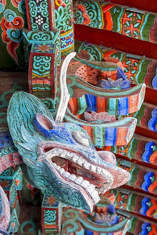 Coloured wooden roof in the Bulguksa Temple, Gyeongju, UNESCO World Heritage Site, South Korea, Asia