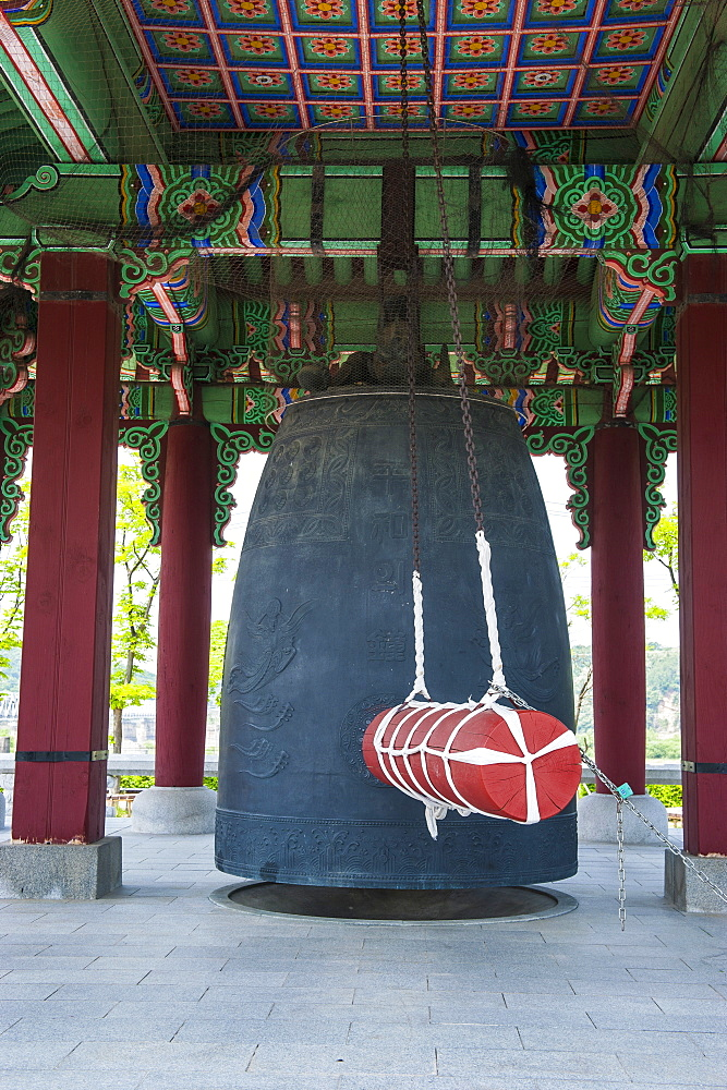 Peace bell at the high security border between South and North Korea, Panmunjom, South Korea, Asia