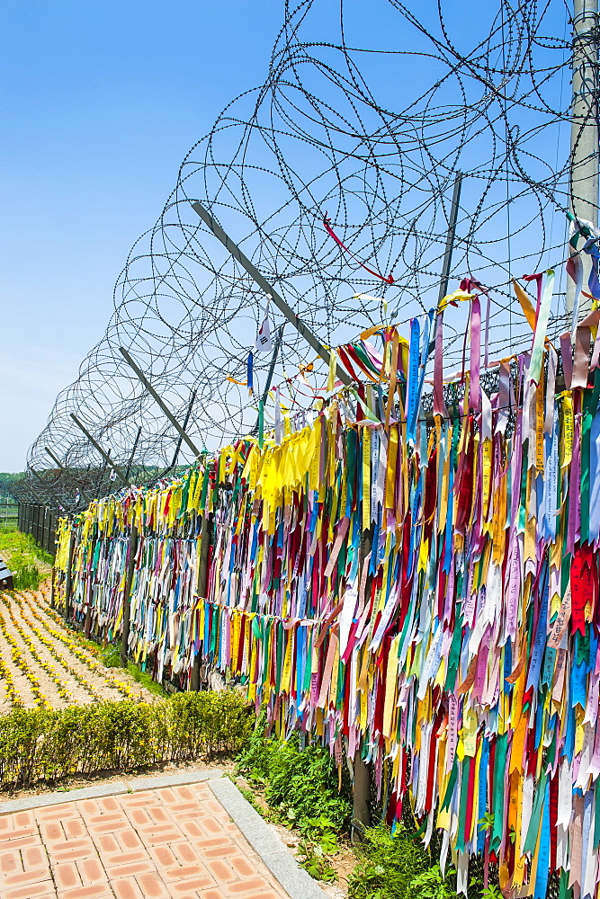 Colourful ribbons at the high security border between South and North Korea, Panmunjom, South Korea, Asia