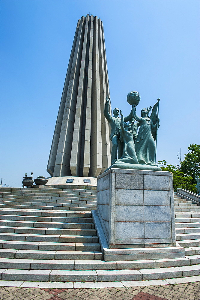 Monument in the Imjingak area at the high security border between South and North Korea, Panmunjom, South Korea, Asia
