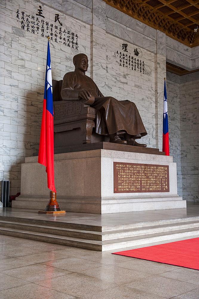 Chiang Kai-Shek statue in the Chiang Kai-Shek Memorial Hall, Taipei, Taiwan, Asia
