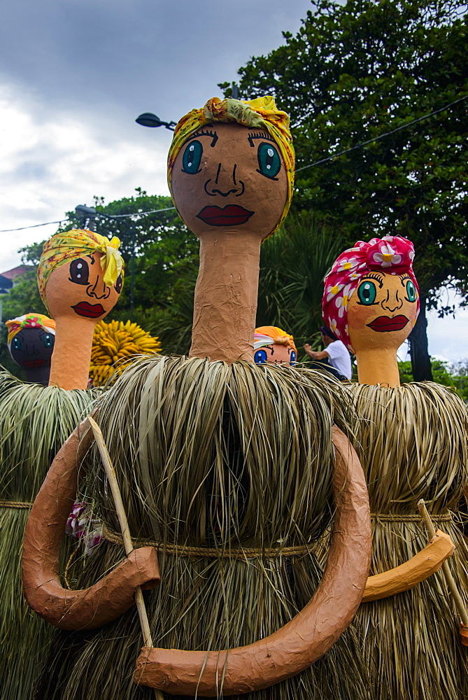 Long necked masks, Carneval (Carnival) in Santo Domingo, Dominican Republic, West Indies, Caribbean, Central America