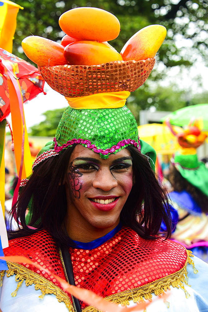 Colourfully dressed in the Carneval in Santo Domingo, Dominican Republic, West Indies, Caribbean, Central America