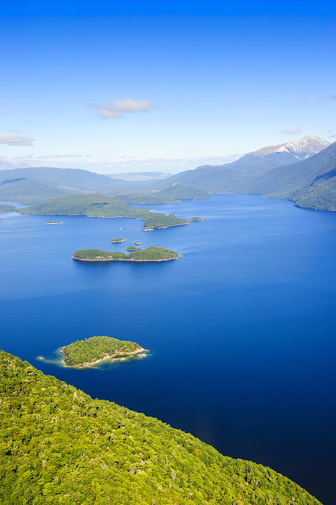 Aerial of a huge fjord in Fiordland National Park, UNESCO World Heritage Site, South Island, New Zealand, Pacific