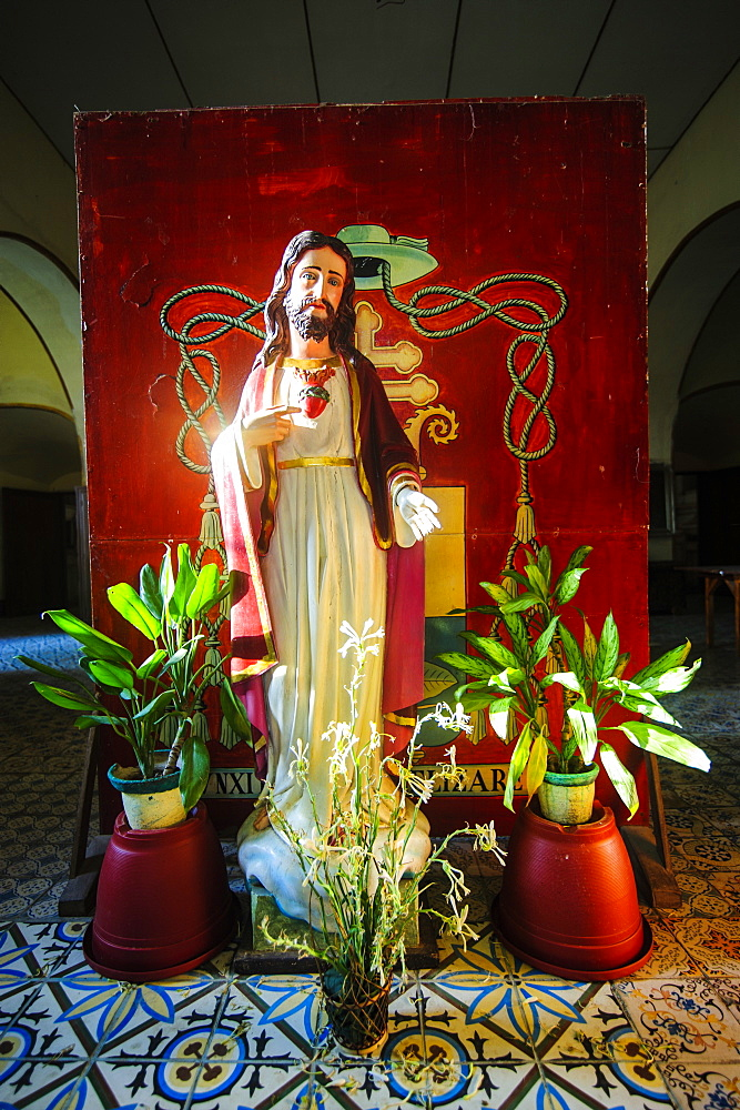 Jesus statue in the interior of the church of Santa Maria, UNESCO World Heritage Site, Ilocos Norte, Northern Luzon, Philippines, Southeast Asia, Asia