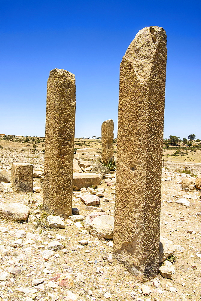 The columns of a ruined structure at the Pre-Aksumite settlement of Qohaito, Eritrea, Africa