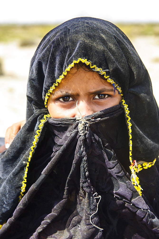 Rashaida girl in the desert around Massawa, Eritrea, Africa